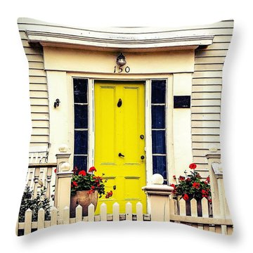 Throw Pillow featuring the photograph Yellow Door by Kendall McKernon
