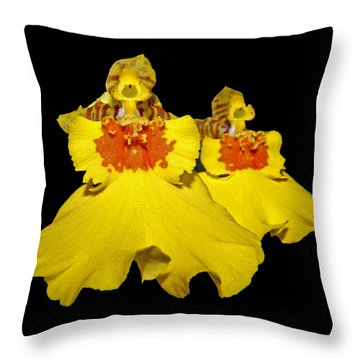 Throw Pillow featuring the photograph Yellow Dresses by Judy Vincent