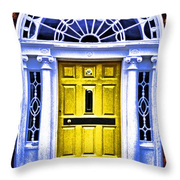 Yellow Dublin Door Throw Pillow