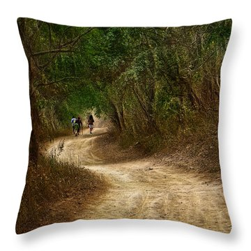 Yellow Dust Road Throw Pillow