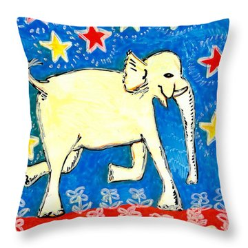 Yellow Elephant Facing Right Throw Pillow by Sushila Burgess