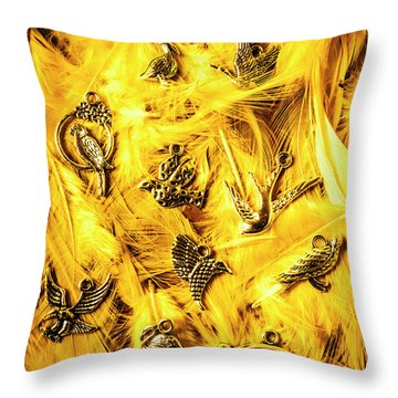 Yellow Feather Flock Throw Pillow