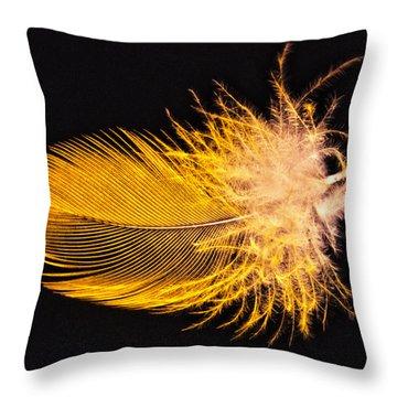 Yellow Feather Macro Throw Pillow