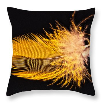 Yellow Feather Macro Throw Pillow
