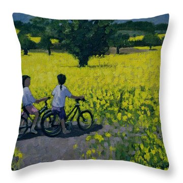 Yellow Field Throw Pillow by Andrew Macara