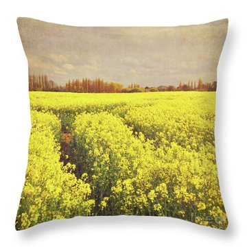 Yellow Field Throw Pillow by Lyn Randle