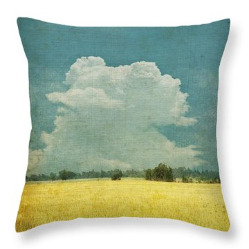 Yellow Field On Old Grunge Paper Throw Pillow