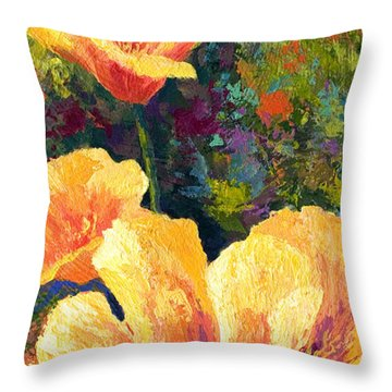 Yellow Field Poppies Throw Pillow