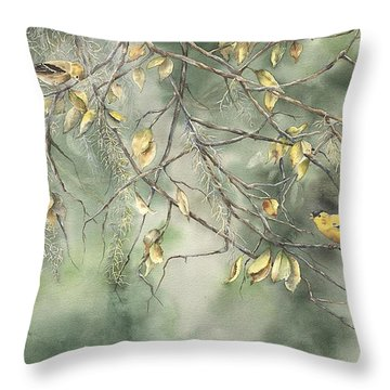 Throw Pillow featuring the painting Yellow Finch by Mary McCullah
