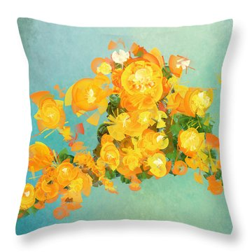 Yellow Fire Spring Throw Pillow
