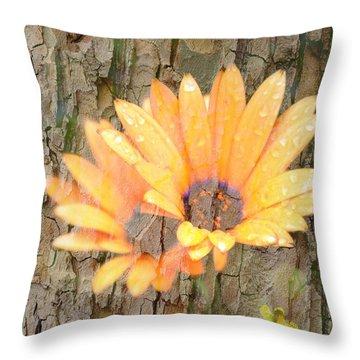 Yellow Flower Bark Throw Pillow