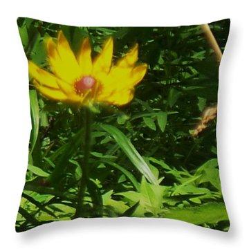 Yellow Flower Throw Pillow by Eric  Schiabor
