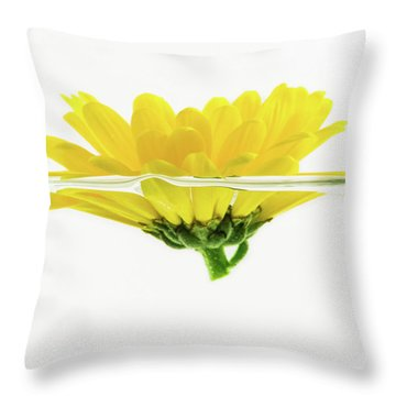 Yellow Flower Floating In Water Throw Pillow