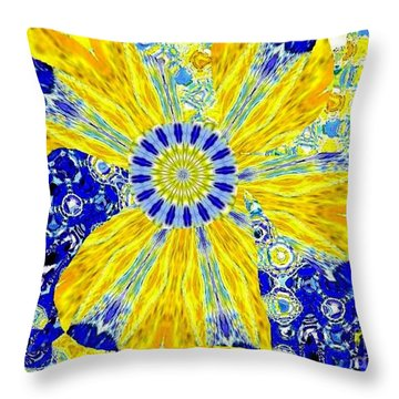 Yellow Flower On Blue Throw Pillow by Navo Art