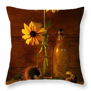 Yellow Flower Still Life Throw Pillow by Sandra Cunningham