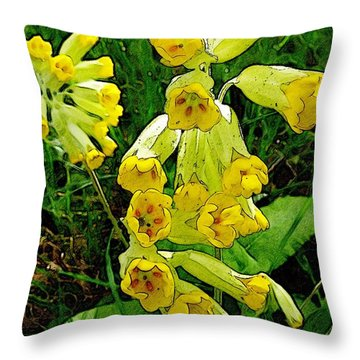 Yellow Flowers 2 Throw Pillow by Jean Bernard Roussilhe