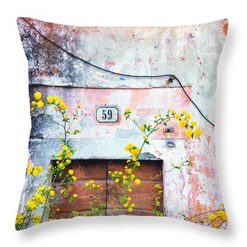 Yellow Flowers And Decayed Wall Throw Pillow by Silvia Ganora