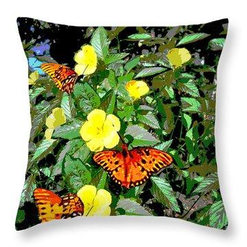 Yellow Flowers Butterflies Digital Painting Gulf Coast Florida Throw Pillow