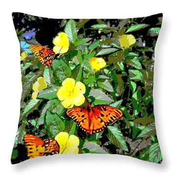 Yellow Flowers Butterflies Digital Painting Gulf Coast Florida Throw Pillow