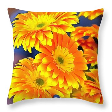 Yellow Flowers In Thick Paint Throw Pillow