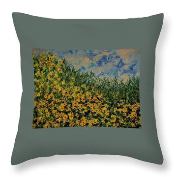 Yellow Flowers Throw Pillow by Kat Griffin