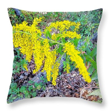 Yellow Flowers On Green Throw Pillow