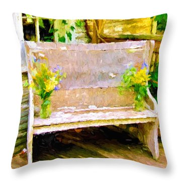 Yellow Flowers On Porch Bench Throw Pillow