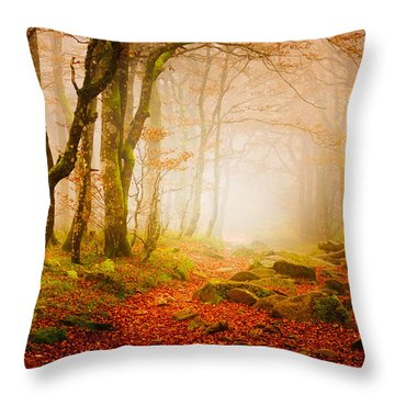 Yellow Forest Mist Throw Pillow
