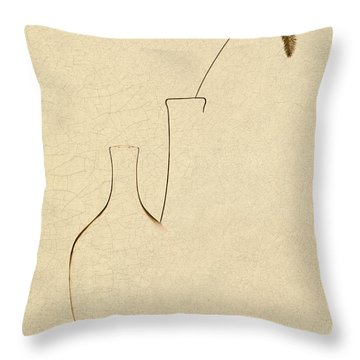Yellow Foxtail With Vases Throw Pillow by Tom Mc Nemar