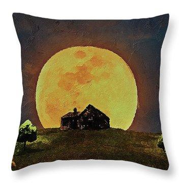 Throw Pillow featuring the digital art Yellow Full Moon  by PixBreak Art