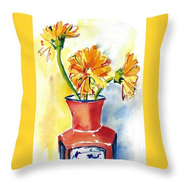 Yellow Gerbera Daisies In A Red And Blue Delft Vase Throw Pillow