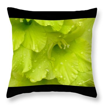 Yellow Gladiola Refreshed Throw Pillow