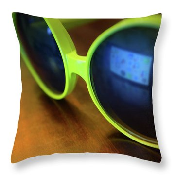 Throw Pillow featuring the photograph Yellow Goggles With Reflection by Carlos Caetano