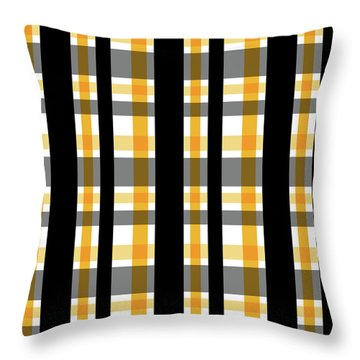 Throw Pillow featuring the photograph Yellow Gold And Black Plaid Striped Pattern Vrsn 1 by Shelley Neff