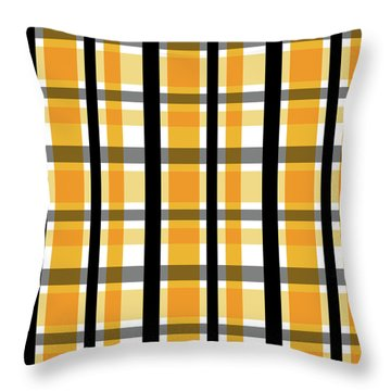 Throw Pillow featuring the photograph Yellow Gold And Black Plaid Striped Pattern Vrsn 2 by Shelley Neff