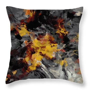 Throw Pillow featuring the painting Yellow / Golden Abstract / Surrealist Landscape Painting by Ayse Deniz