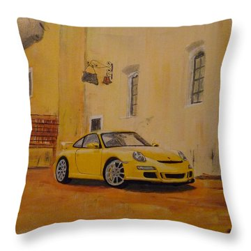 Throw Pillow featuring the painting Yellow Gt3 Porsche by Richard Le Page