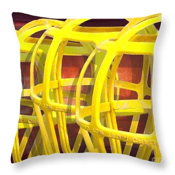 Yellow Guard Throw Pillow by Ron Bissett