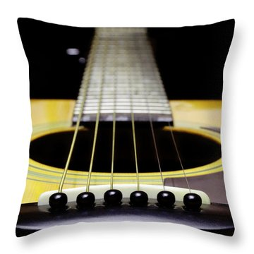 Yellow Guitar 17 Throw Pillow by Andee Design