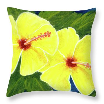 Yellow Hibiscus Flower #292 Throw Pillow by Donald k Hall