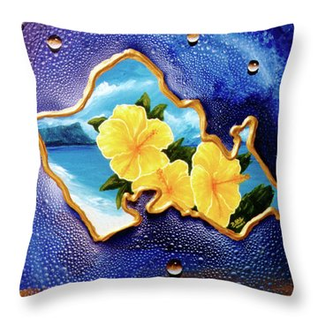 Yellow Hibiscus Hawaii State Flower #142 Throw Pillow by Donald k Hall