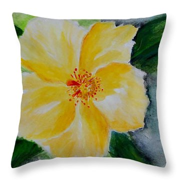 Yellow Hibiscus Throw Pillow by Jamie Frier