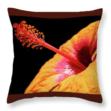 Throw Pillow featuring the photograph Yellow Hibiscus by Marie Hicks
