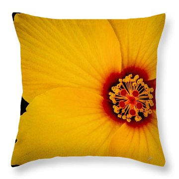 Yellow Hibiscus Squared Throw Pillow by TK Goforth