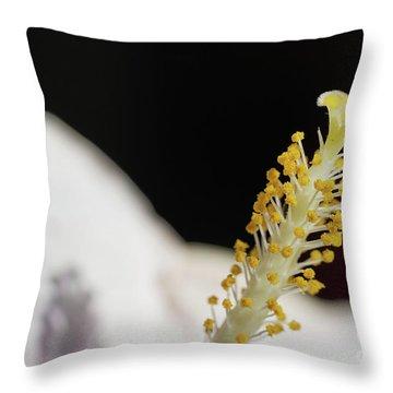 Yellow Hibiscus Stalk Throw Pillow
