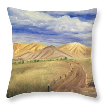 Yellow Hills Of Jensen Throw Pillow by Sherril Porter