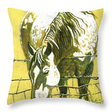 Yellow Horse Throw Pillow