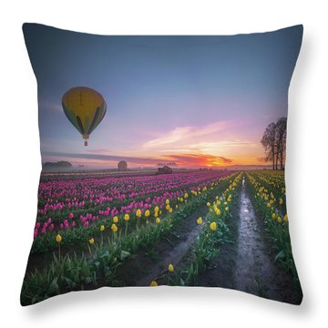 Throw Pillow featuring the photograph Yellow Hot Air Balloon Over Tulip Field In The Morning Tranquili by William Lee