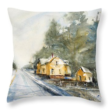 Yellow House On The Right Throw Pillow by Judith Levins