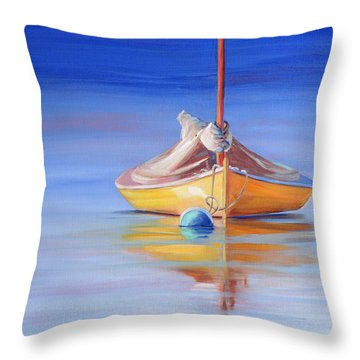 Yellow Hull Sailboat Iv Throw Pillow
